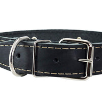 "Genuine Leather Studded Dog Collar, 1.25"" Wide. Fits 16""-19"" Neck"