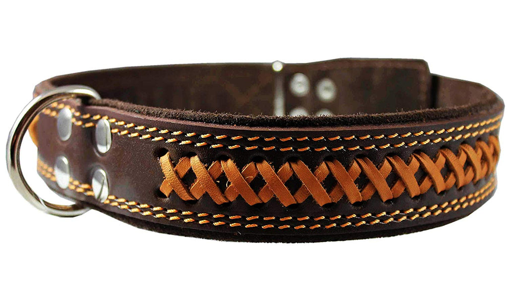 "Genuine Leather Braided Dog Collar, Brown 1.6"" Wide. Fits 19""-24"" Neck."
