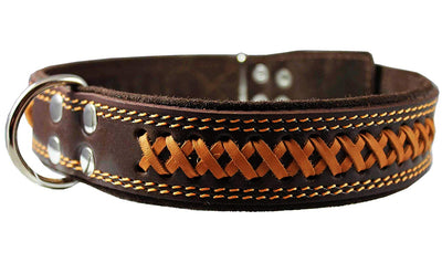 Genuine Leather Braided Dog Collar, Brown 1.6