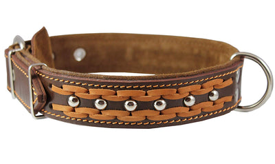 Genuine Leather Braided Studded Dog Collar, Brown 1.6