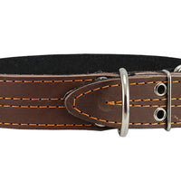 "Genuine Leather Dog Collar, Padded, Brown 1.5"" Wide. Fits 18""-22"" Neck Size Cane Corso Rottweiler"