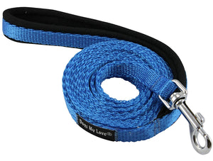Dogs My Love 6ft Long Neoprene Padded Handle Nylon Leash 4 Sizes Blue