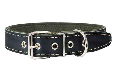 Thick Genuine Leather Dog Collar, Cotton Padded, 1.25