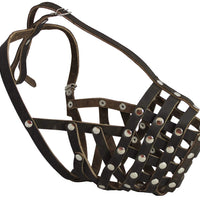 "Secure Leather Mesh Basket Dog Muzzle - Rottweiler Male(Circumference 14.5"", Snout Length 3.5"")"