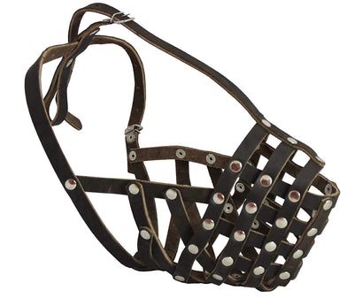 Secure Leather Mesh Basket Dog Muzzle - Rottweiler Male(Circumference 14.5