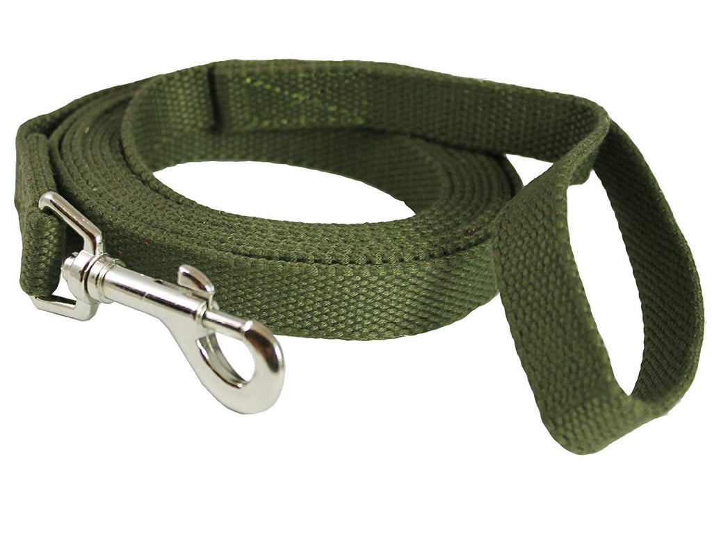 "Dog Leash 3/4"" Wide Cotton Web 10 Ft Long for Training Swivel Locking Snap, Pitt Bull, Cane Corso"