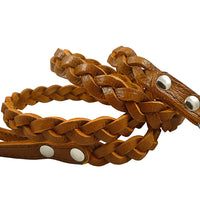 "Genuine Fully Braided Leather Dog Leash 4 Ft Long 3/4"" Wide Brown, Medium to Large Breeds"