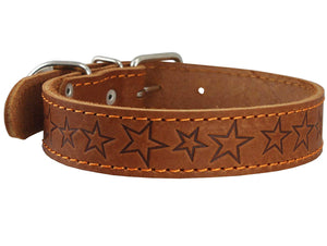 Genuine Leather Dog Collar Stars Pattern Brown 4 Sizes