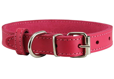 Genuine Leather Dog Collar Pink 4 Sizes