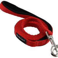 Dogs My Love 4ft Long Neoprene Padded Handle Nylon Leash 4 Sizes Red
