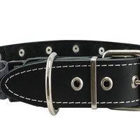 "Black Genuine Leather Studded Dog Collar, Soft Suede Padded1.5 Wide. Fits 17""-20"" Neck"