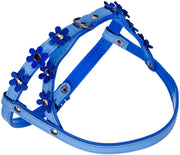 Genuine Leather Dog Harness Daisies for Toy and Small Breeds Padded Blue
