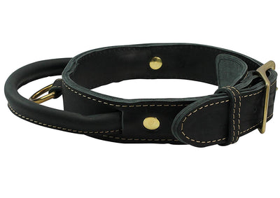 Genuine Leather Dog Collar, Rolled Leather Handle Black