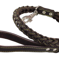 "4-thong Square Fully Braided Genuine Leather Dog Leash, 3.5 ft Length 1"" Wide Brown Large to X-Large"