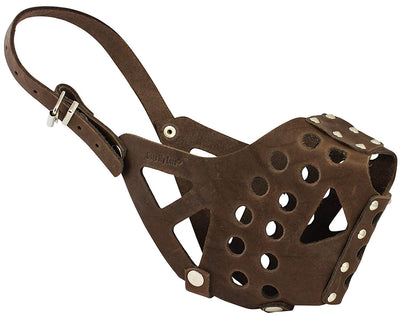 Real Leather Cage Basket Dog Muzzle - Pit Bull Brown (Circumference 13
