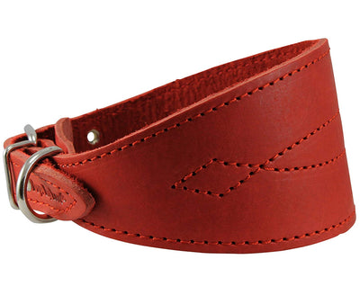 Red Real Leather Tapered Extra Wide Greyhound Whippet Dog Collar 2.75
