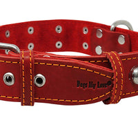 "Red Real 1.5"" Wide Thick Leather Studded Dog Collar. Fits 17""-21.5"" Neck."