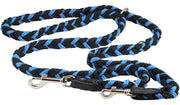"6 Way Euro Multifunctional Braided Dog Leash, Adjustable Schutzhund Lead 42""-68"" Long 4 Sizes Blue"