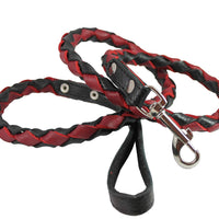 "4-thong Round Fully Braided Genuine Leather Dog Leash, 4 Ft x 5/8"" Black/Red Medium Dogs"