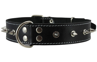 Real Leather Black Spiked Dog Collar Spikes, 1.5