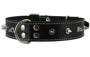 "Real Leather Black Spiked Dog Collar Spikes, 1.5"" Wide. Fits 17""-21.5"" Neck, Large Breeds."