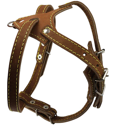 Brown Genuine Leather Dog Harness, 16.5