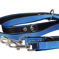 "Dogs My Love 1"" Wide 6 Way Euro Multi-functional Nylon Dog Leash, Adjustable Lead Blue 40""-70"" Long"
