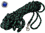 "Dogs My Love Braided Nylon Rope Dog Leash Black/Green 15/30Ft Long 1/4""(6mm) Diam. Train. Lead Small"