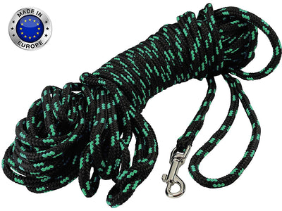 Dogs My Love Braided Nylon Rope Dog Leash Black/Green 15/30Ft Long 1/4