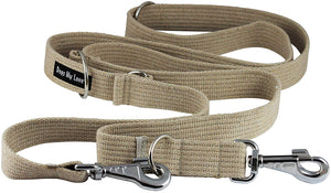 "1.25"" Wide Cotton Web 6-Way European Multi-functional Dog Leash Adjustable Lead 45""-78"" Long XLarge"