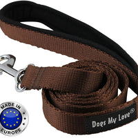 Dogs My Love 6ft Long Neoprene Padded Handle Nylon Leash 4 Sizes Brown