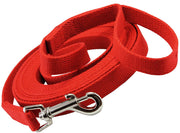 "Dog Leash 3/4"" Wide Cotton Web 15 Ft Long Red for Training Swivel Locking Snap"