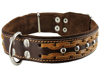 Genuine Leather Braided Studded Dog Collar, Brown 1.5