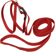 Nylon 8-Shape Adjustable Dog Harness and 6ft Leash Set XSmall Red