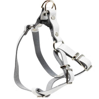 Genuine Leather Adjustable Step-in Dog Harness 2 Sizes Small XSmall [White]