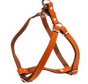 Genuine Leather Adjustable Step-in Dog Harness 2 Sizes Small XSmall [Orange]