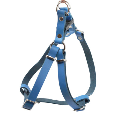 Genuine Leather Adjustable Step-in Dog Harness 2 Sizes Small XSmall [Blue]