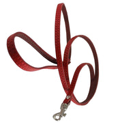 "4' Genuine Leather Classic Dog Leash Red 3/8"" Wide For Small Breeds and Puppies"