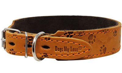 Genuine Leather Suede Padded Tapered Dog Collar Medium to Large 1.25