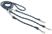 "12"" Braided Rope Three-Way Dog Leash Three Dog Coupler 3/8"" Diam Blue with Black Medium"