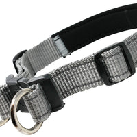 "Soft Neoprene Padded Adjustable Reflective 1"" Wide 2 Rings Design Dog Collar Grey 3 Sizes"