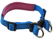 "Soft Neoprene Padded Adjustable Reflective 1"" Wide 2 Rings Design Dog Collar Blue 3 Sizes"
