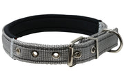 "Soft Neoprene Padded Adjustable Reflective 1"" Wide Classic Dog Collar Grey 3 Sizes"