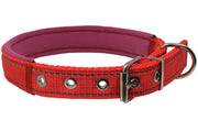 "Soft Neoprene Padded Adjustable Reflective 1"" Wide Classic Dog Collar Red 3 Sizes"