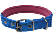 "Soft Neoprene Padded Adjustable Reflective 1"" Wide Classic Dog Collar Blue 3 Sizes"