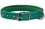 "Soft Neoprene Padded Adjustable Reflective 1"" Wide Classic Dog Collar Green 3 Sizes"