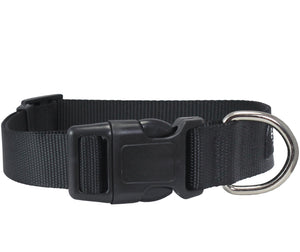 Classic Strong Black Solid Color Adjustable Quick Release Nylon Dog Collar Available in 3 sizes