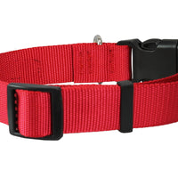 Classic Strong Solid Red Color Adjustable Quick Release Nylon Dog Collar Available in 3 sizes