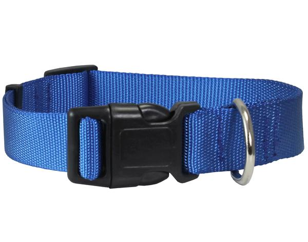 Classic Strong Solid Blue Color Adjustable Quick Release Nylon Dog Collar Available in 3 sizes