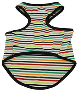 Adjustable Dog T-Shirt Clothing Colorful Striped Sleeveless Clothes for Small Breeds